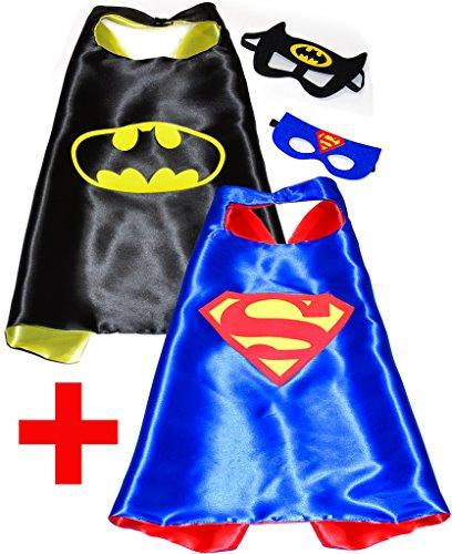 Batman + Superman (Set 2 Stück) Umhänge und Maske - Superhelden-Kostüme für Kinder Cape und Maske - Spielsachen für Jungen für Fasching oder Motto-Partys! - King Mungo - KMSC031 (Superhelden Kostüme Zu Machen)