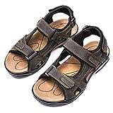 gracosy Sandales de Sports Hommes, Chaussures de Randonnée Été en Cuir à Scratch Talons Plats Bout Ouvert pour Trekking Marche Plage Ville  ,Marron ,43 EU
