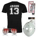 Halloween Fasching Kostüm Set Jason 13 Michael Myers Kostüm Verkleidung Set Shirt und Brille Pilot H20 Maske Kunstblut Halloween Fasching Freitag 13 (Large)