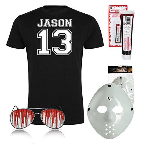 drucksda Halloween Fasching Kostüm Set Jason 13 Michael Myers Kostüm Verkleidung Set Shirt und Brille Pilot H20 Maske Kunstblut Halloween Fasching Freitag 13 (Large)