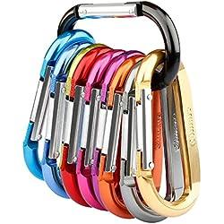 Gimars 10pcs Mousqueton de Fixation en Alliage d'Aluminium en Forme D porte-clés Multicolore pour Sac de Montagne / Tente / Hamac / Clé / Camping - 80mm*42mm