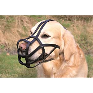 Trixie Bridle Leather Dog Muzzle with Forehead Strap, 31 cm X-Large, Black