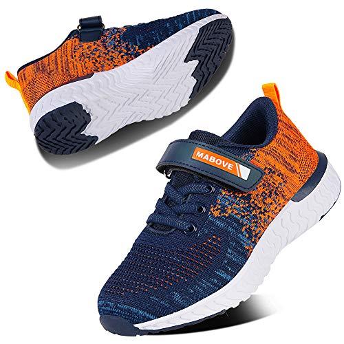 Kyopp Laufschuhe Kinder Turnschuhe für Mädchen Jungen Sportschuhe Kinderschuhe Outdoor Sneakers Klettverschluss Atmungsaktiv Unisex(4#Orange 35 EU)