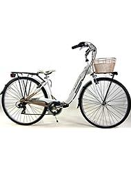 """'Bicicleta """"Adriatica"""" con cambio 6 V Modelo Relax Mujer 28 – blanco/oro"""