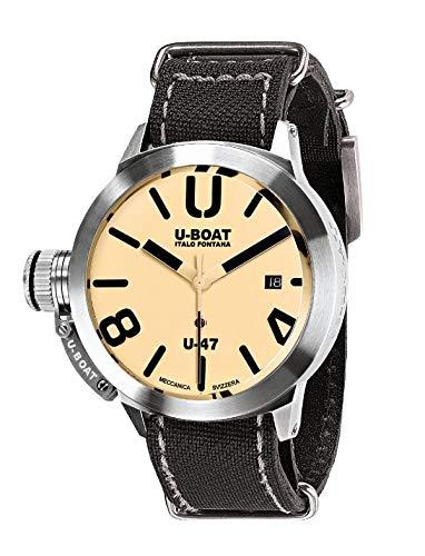 Montre Automatique U-Boat Classico, Acier Inoxydable 316L, Beige, 47mm, 8106
