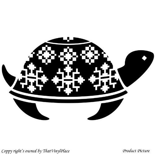 Turtle, Vintage Ornamente, Folk, (59 cm x 33 cm), Farbe: Schwarz Childs Schlafzimmer,,, Kind-Raum-Aufkleber Auto Vinyl, Fenster und Wand Aufkleber, Wand Windows-Art ThatVinylPlace Wandtattoo, - Vintage Schwarz Folk Art