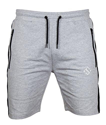 Herren Shorts Active Slim French Terry Fit Workout Gym Shorts für Herren mit Reißverschlusstaschen - Grau - XX-Large -