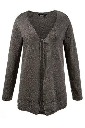 Ulla Popken Femme Grandes tailles Cardigan lacé en maille à manches longues 709063 gris brume chiné