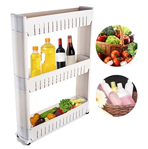 Slim Slide Out Küche Trolley Lagerung Regal Veranstalter Moving Wall Schränke Turm Halter Rack Auf Rädern 3 Tier