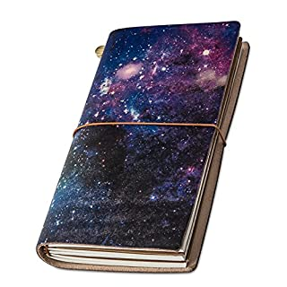 """Travel Journal, """"Universe"""" Handmade Vintage Leather Notebook Refillable, Antique Soft Leather, Gift for Men & Women, Perfect to Write in, Travelers Journal, Small Leather Notebook, 22 × 11cm"""