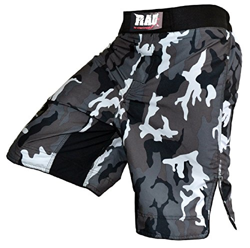 Tolle MMA-Kampfsport-Shorts / Shorts für Kickboxen, Muay Thai, Cage-Fighting / Tarnmuster, Kampfsport-Hose, Camouflage, grau, Herren, mehrfarbig, XXXX-Large