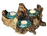 Balibarang-Shop Geschenk Deko Gamal Wurzelholz Dreier Teelichthalter Wurzel Holz Glas Teelicht 3