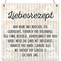 HOLZBLOCK Shabby LIEBESREZEPT Hochzeit Geschenkidee Partner Liebe Spruch
