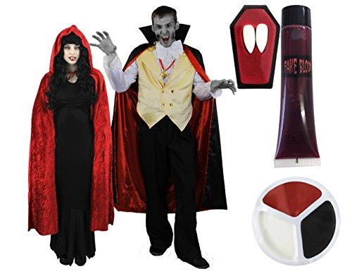 ILOVEFANCYDRESS Vampire Paar KOSTÜM-Verkleidung FÜR Fasching+Karneval+Halloween=BEINHALTET=2 KOSTÜME +Rote UMHÄNGE+2 X Vampire ZÄHNE+2 X Make up+2 X KÜNSTLICHES Blut = MÄNNER-XXL+ Frauen-XXXL