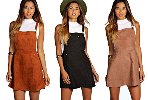 Red Olives Womens Ladies Straps Suedette Overall Skirt Pinafore Dungaree Mini Dress