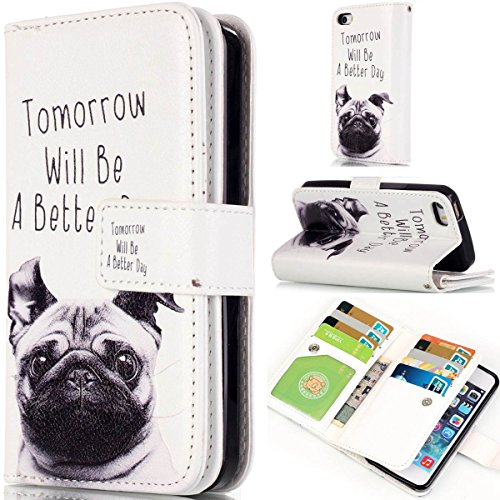iPhone 6 Hülle Case,iPhone 6S Hülle Case,Gift_Source [Multi Card Brieftasche] [Photo card slots] Premium Magnetic PU Leder Brieftasche mit Built-in 9 Card Slots Folio Flip Hülle Case für Apple iPhone  E01-03-A better day