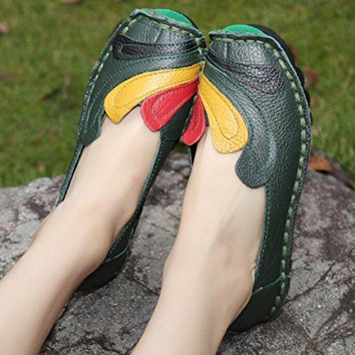 Vintage Handmade fleur Chaussures plates en cuir des Style 2 Vert