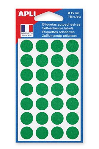 Apli -Lote de 3bolsas con 168pegatinas de señalización autoadhesivas, diseño redondo, 15mm, color verde