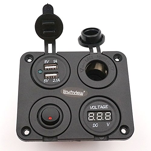 Vakuum-steckdose (Linchview Dual USB Ladegerät Aluminium Schalter Panel, LED Voltmeter, 12V Steckdose + ON / OFF Schalter 4 Loch Knopfleiste für Auto Boot Marine LKW Motorrad RV ATV Fahrzeuge GPS Handy Kamera Mp3)