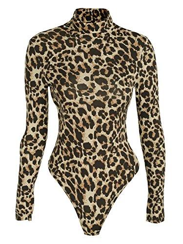 Glamaker - Body - Cuello Alto - Manga Larga - para Mujer Leopardo Large