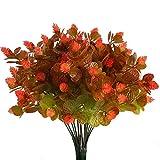 Kuenstliche Blumen Pflanze, Nahuaa 4 Stück Künstlichen Grün Gefälschte Kunststoff Plastik Sträucher Draußen Tabelle Blumenarrangements Zuhause Küche Sprungfeder Deko Rot