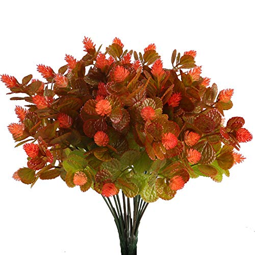 (Kuenstliche Blumen Pflanze, Nahuaa 4 Stück Künstlichen Grün Gefälschte Kunststoff Plastik Sträucher Draußen Tabelle Blumenarrangements Zuhause Küche Sprungfeder Deko Rot)