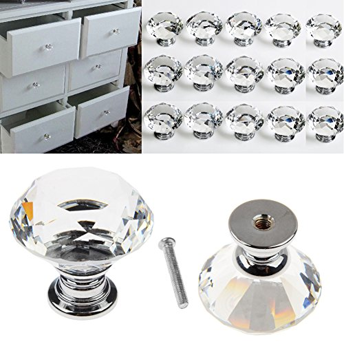 16pcs Crystal Glass Door Knobs Clear Diamond Pull Handle with Screw for Drawer Cabinet Furniture Kitchen Home Decorating