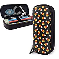 Halloween Candy Corn Leather Pencil Case Pouch Bag School for Students,Big Capacity Stationery Box Travel Makeup Pouch Bag for Girls Boys Adults