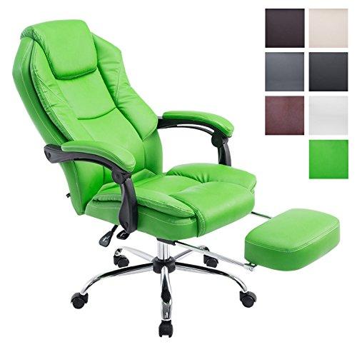 CLP Chefsessel Relaxsessel mit Armlehne CASTLE, belastbar 130 kg, Fußablage ausziehbar, Bürostuhl Gaming höhenverstellbar 47 - 57 cm Grün
