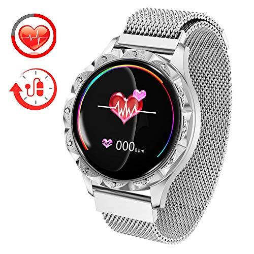 Fitness Armband Tracker Uhr Damen Wasserdicht Farbdisplay Smartwatch Aktivitätstracker Fitness Uhr mit Blutdruckmessung,Pulsmesser,Schlafüberwachung für Damen Elegant Fitness Tracker für IOS Android