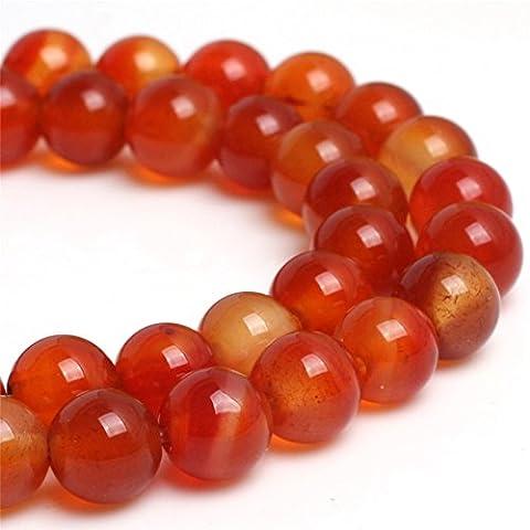 Sweet & Happy Girl'S Store 6mm Round Gemstone Red Carnelian Beads Strand 15 Inch Jewellery Making Beads