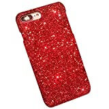 Felfy iPhone 6S Plus Hülle,iPhone 6 Plus Handy Hülle Glitzer Rot Glänzend Glitzer Bling Sparkles Luxus PC Plastik Hart Schale Schutzhülle für iPhone 6S Plus, Ultra Dünne Hybrid Case Slim Hardcase