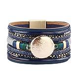 JAOYU Bracelet en Cuir Bleu Multicouche Bracelets pour Les Femmes - Wrap Manchette Bracelet Fait à la Main Bijoux - Anniversaire, Cadeaux d'amitié