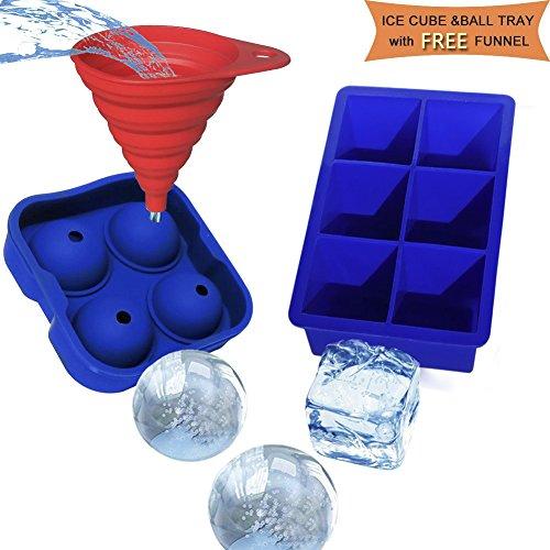 Silikon Große Eiswürfelformen-XXL, Runde Eiswürfel mit GRATIS Trichter & Große Eiskugeln mit 4,5 cm Durchmesser aus Silikon, 2 Stück ,Blau