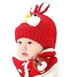 Sombrero Bufanda Bebé,TININNA Otoño Invierno Niños Niñas Lana Punto Mantener Caliente Conjunto Gorras y Bufanda con Lindo Conejo Diseño;Rojo