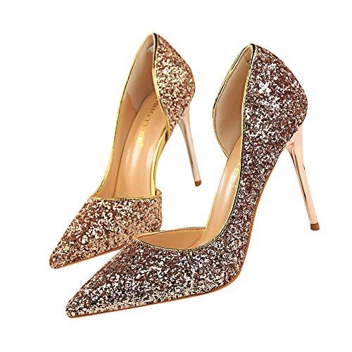 Beikoard-scarpa da Donna Estremamente Sexy Tacchi Alti Scarpe da Donna Scarpe con Tacchi Sottili Scarpe da Donna(Oro Rosa,39)