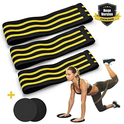 LASCOTON Fitnessbänder Set Resistance band-3x mit 2 Gleitscheiben Theraband Gymnastikband Widerstandsband Trainingsband für MuskelaufbauCrossfit Gymnastik Yoga mit Tasche