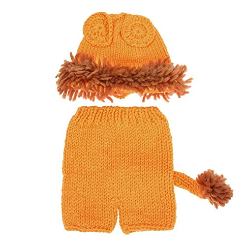 Domybest 2pcs Baby Lion häkeln Hut + Hosen Kostüm Foto Requisiten Cute Handmade Outfit (Lion Baby Kostüme)