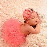 YiZYiF Fotos Fotografie Prop Baby Mädchen Kostüm Süßer Prinzessin Kleid Tüllkleid mit Kopfband Festzug Kleidung (Wassermelonen Rot)