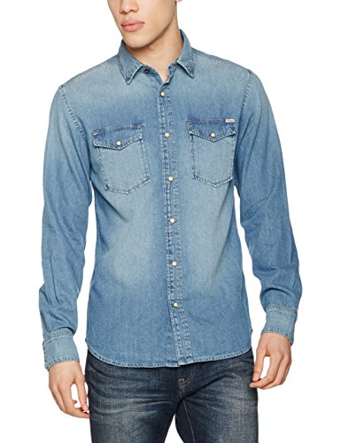 JACK & JONES VINTAGE Jjvsheridan L/s Western Noos, Camisa para Hombre, Azul (Medium Blue Denim)