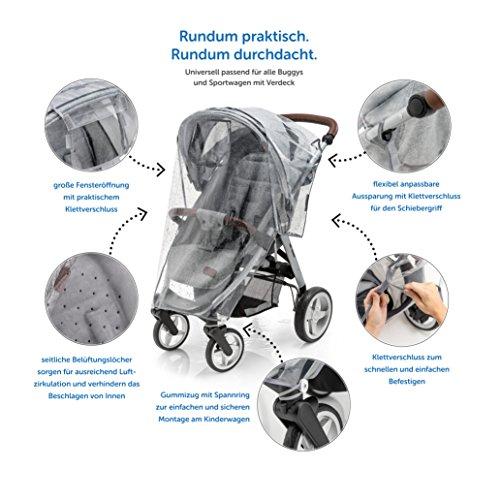 Habillage pluie confort universel pour tous types de poussettes, poussettes cannes ou poussettes 3 roues   bonne circulation de l'air, fenêtre de contact, montage facile, sans PVC.