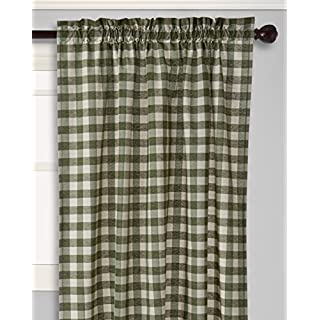 Achim Home Furnishings Buffalo Check Curtain Panel, 42-Inch by 63-Inch, Sage