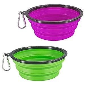 Comsun Bol pour chien dépliable en silicone de qualité alimentaire sans BPA Tasse ou gamelle portable pour animal domestique en voyage