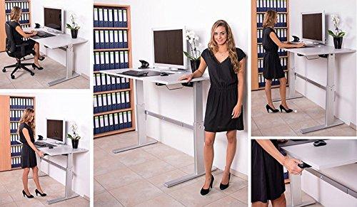 Schreibtisch mit Höhenverstellung in Lichtgrau Ergonomisch Elektrisch B 180 cm x T 80 cm Bürotisch Arbeitstisch Büroschreibtisch - 4