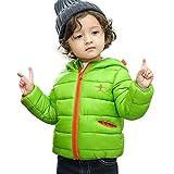 ODJOY-FAN Kinder Mädchen Junge Hooded Mantel Karikatur Jacke Mit Kapuze Dick Baumwollmantel Warm Daunenjacken Outerwear Kapuzenmantel Langarm (Grün,140)