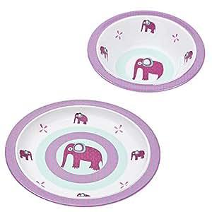 Lässig Kindergeschirr 2er- Set Wildlife Elephant // Lässig Baby`s Schale & Esslern-Teller // 100% Melamin