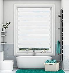 Doppelrollo Klemmfix ohne Bohren Weiß 70x220cm Duo Rollo mit Klämmträgern Sicht und Sonnenschutz für Fenster und Türen