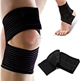 Soft Neoprene Elastic Compression Knee Elbow Wrist Shin Ankle Hand Wrap Brace Bandage Gym Sports Stabilizer Stabilizing Strap Ankle Protector One Size