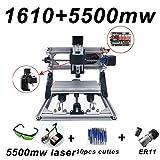CNC Router Engraving Machine with 5mm ER11,160 * 100 * 40mm PCB PVC Wood Metal Milling Machine + 10pcs CNC Router Bits + 4pcs CNC Support With 5500MW Laser