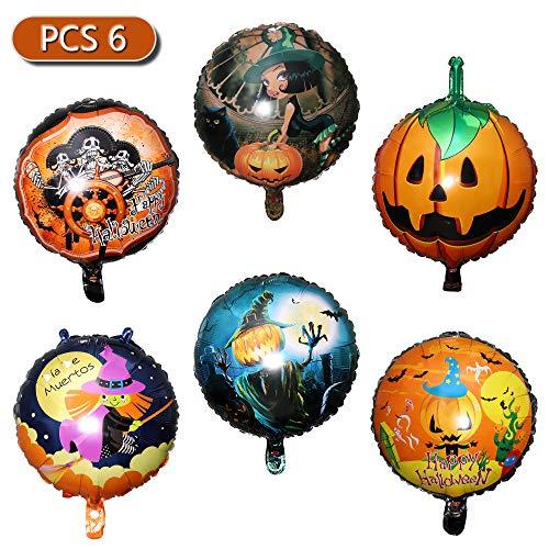 Palloncini Halloween Balloons di Foil, Gonfiabili di Fantasma, Zucca per Festa Decorazione di Halloween, Giocattoli e Regali per Bambini (6 Pacchetti)